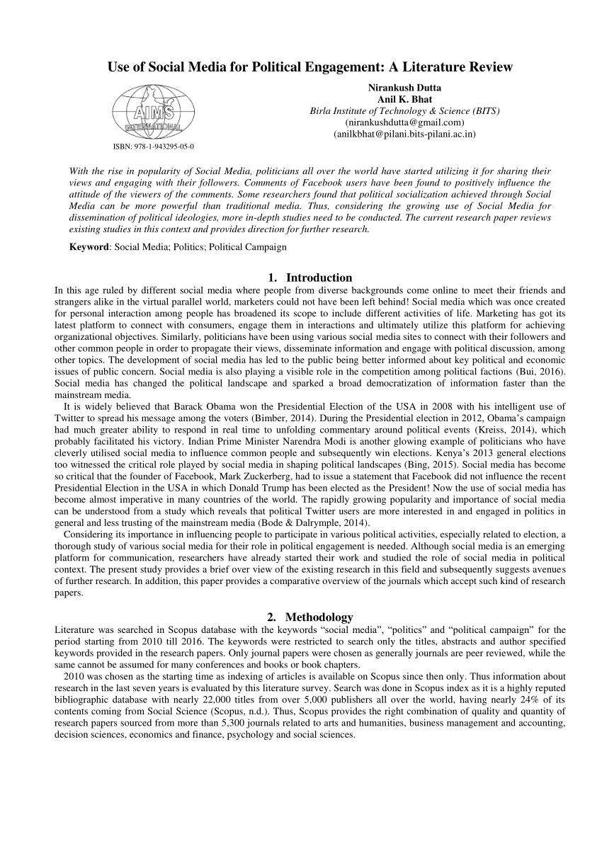 PDF Use Of Social Media For Political Engagement A Literature Review