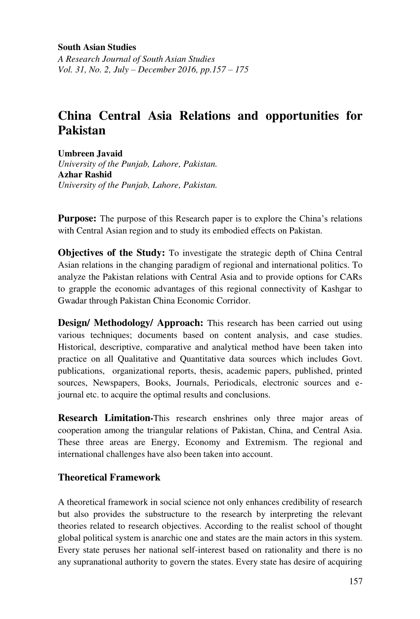 PDF China Central Asia Relations And Opportunities For Pakistan