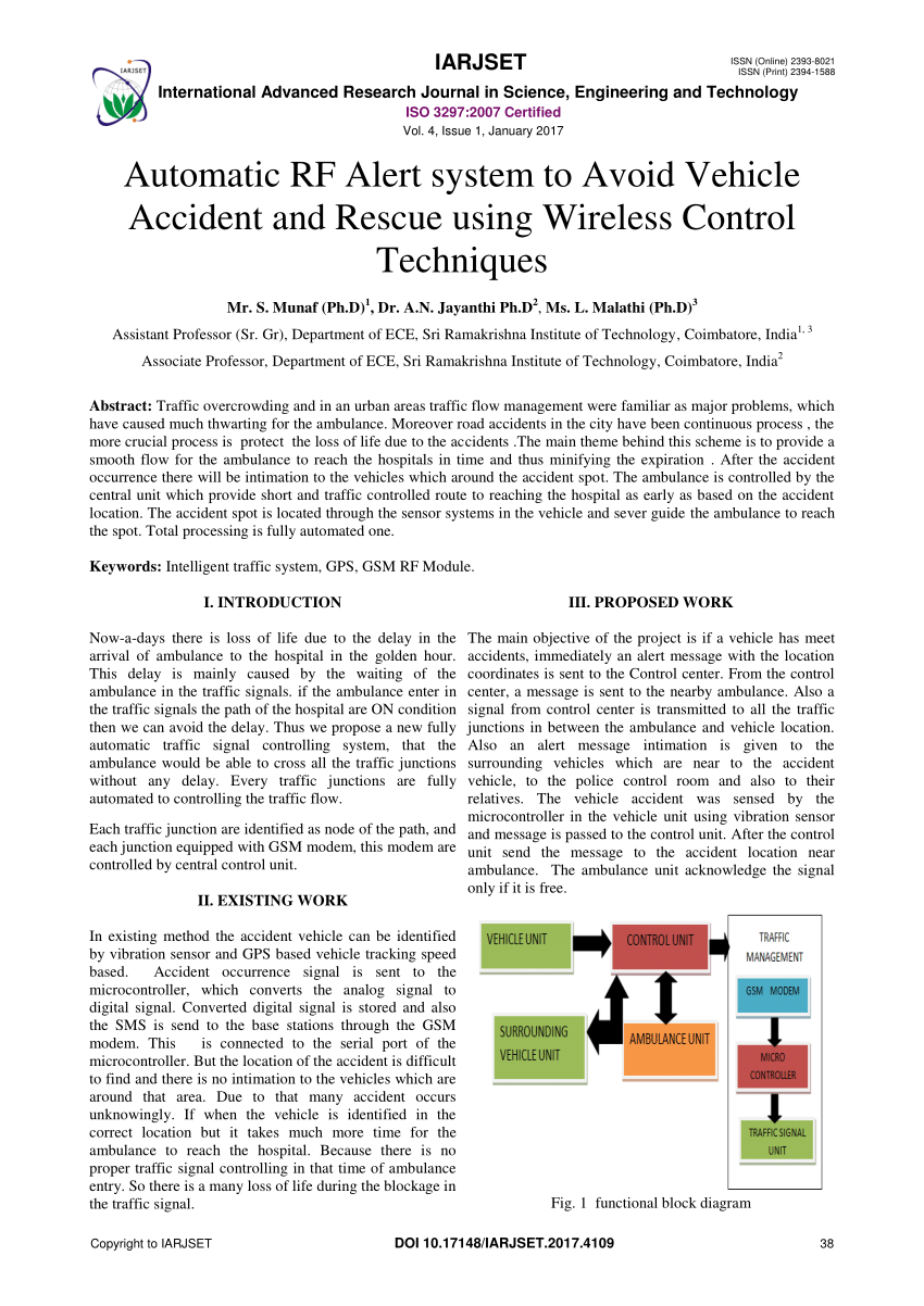 medium resolution of  pdf automatic rf alert system to avoid vehicle accident and rescue using wireless control techniques