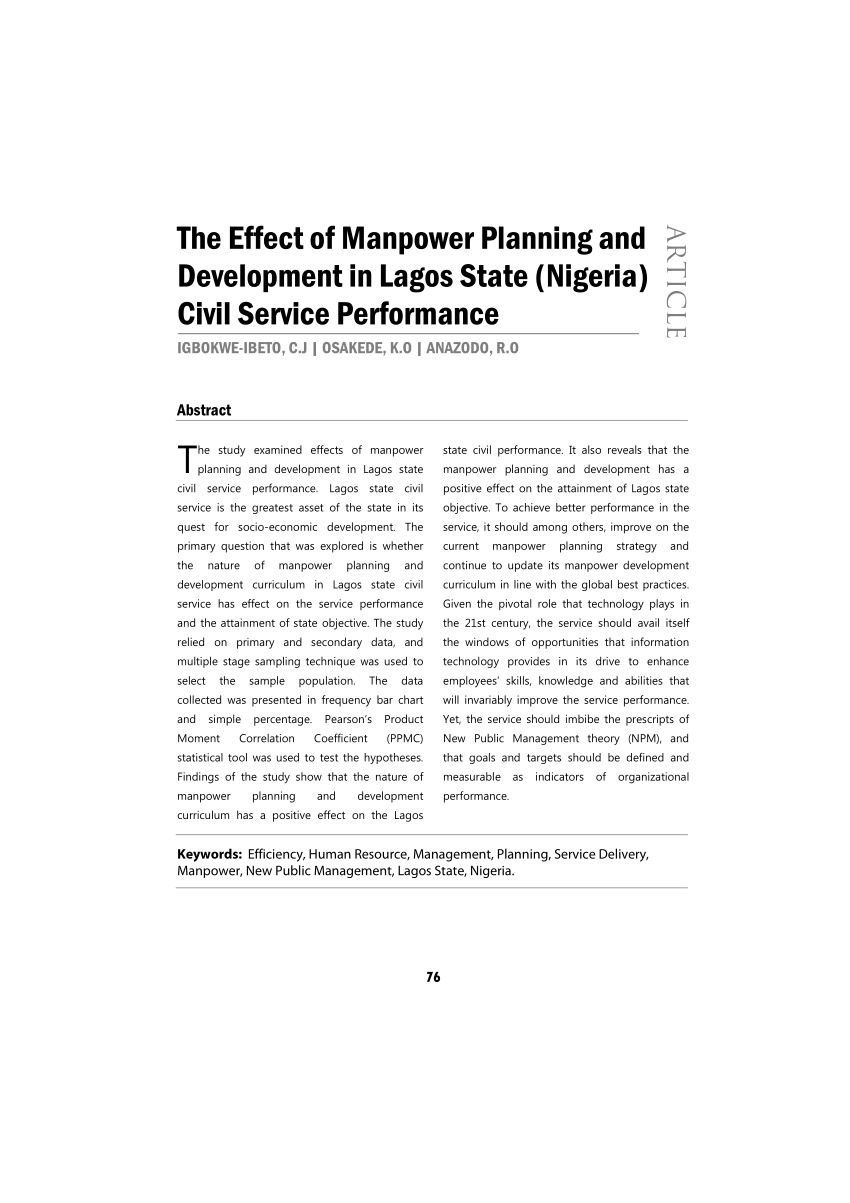 medium resolution of  pdf the effect of manpower planning and development in lagos state nigeria