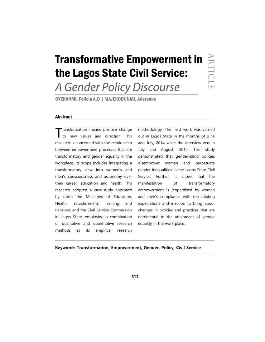 medium resolution of  pdf transformative empowerment in the lagos state civil service a gender policy discourse