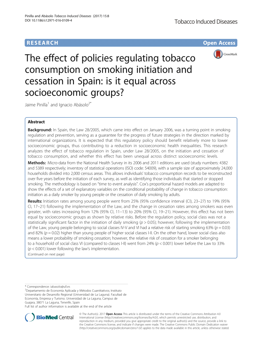 The Effect Of Policies Regulating Tobacco PDF Download Available