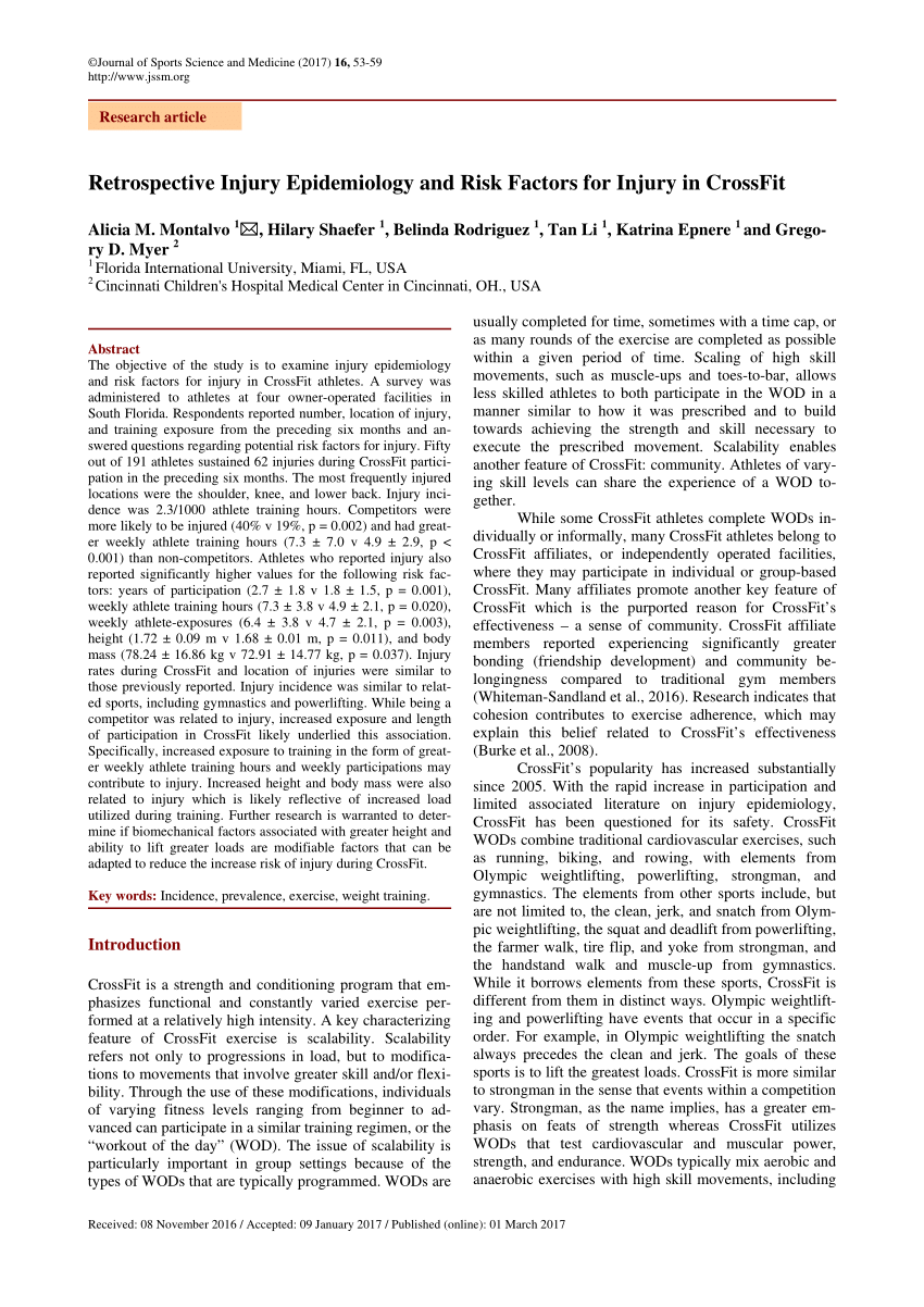 PDF Retrospective Injury Epidemiology And Risk Factors For Injury