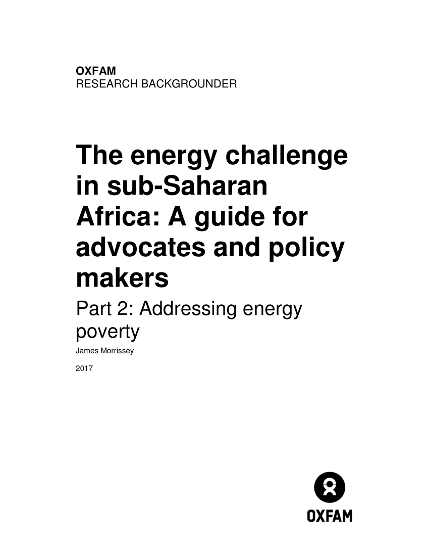 (PDF) The energy challenge in sub-Saharan Africa: A guide