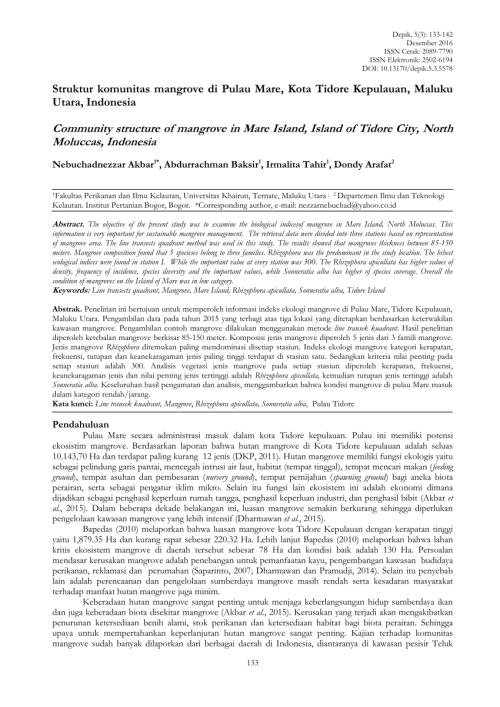small resolution of  pdf struktur komunitas dan pemetaan ekosistem mangrove di pesisir pulau maitara provinsi maluku utara indonesia