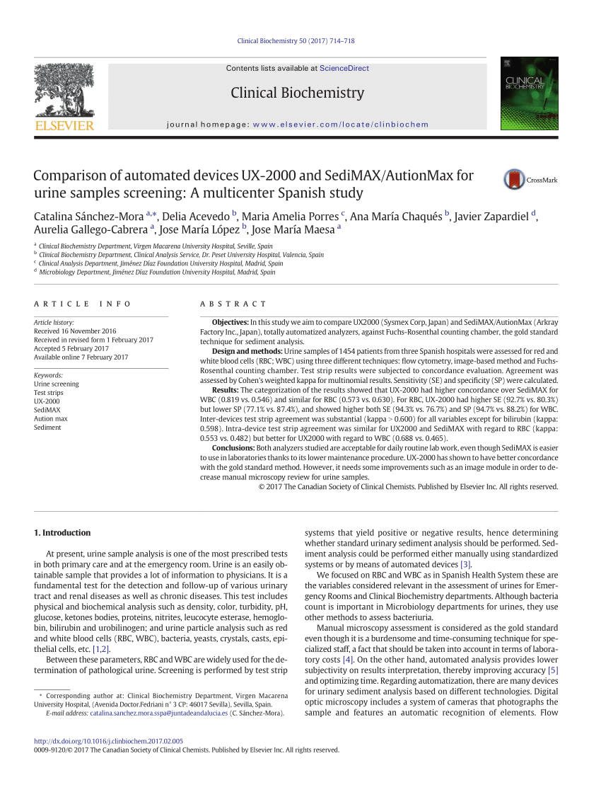 medium resolution of  pdf evaluation of the analytical performances of cobas 6500 and sysmex un series automated urinalysis systems with manual microscopic particle counting