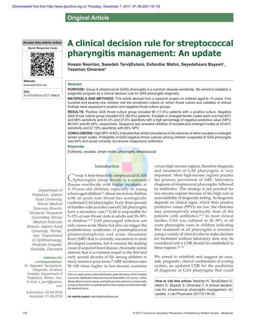 A Clinical Decision Rule For PDF Download Available