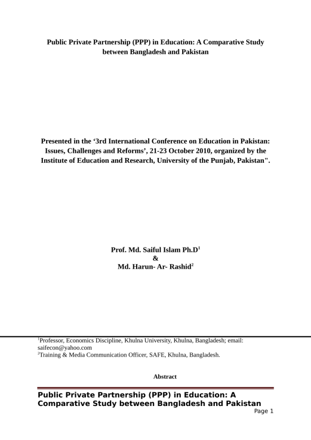 PDF) Public Private Partnership (PPP) in Education: A Comparative