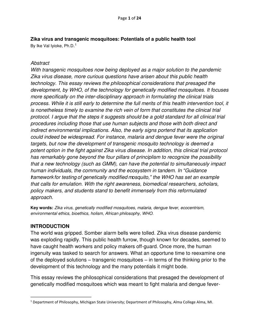 Bioethics Essay Bioethics Essay Zika Virus And Transgenic Mosquitoes