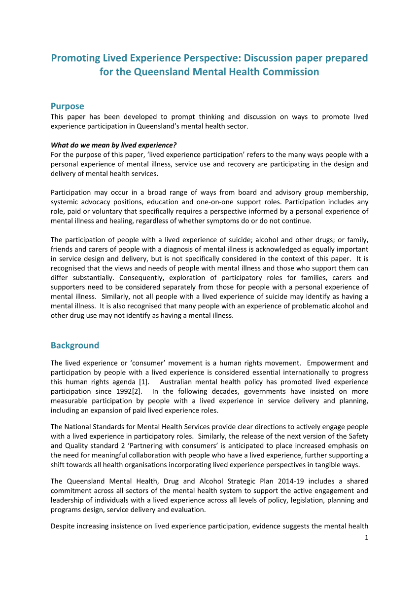 (PDF) Promoting lived experience perspective: Discussion paper prepared for the Queensland Mental Health Commission