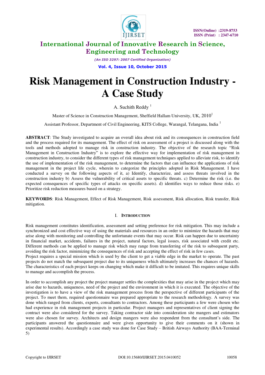 (PDF) Risk Management in Construction Industry - A Case Study