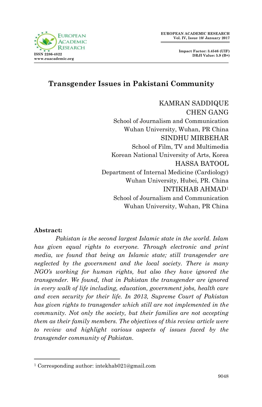 PDF Transgender Issues In Pakistani Community