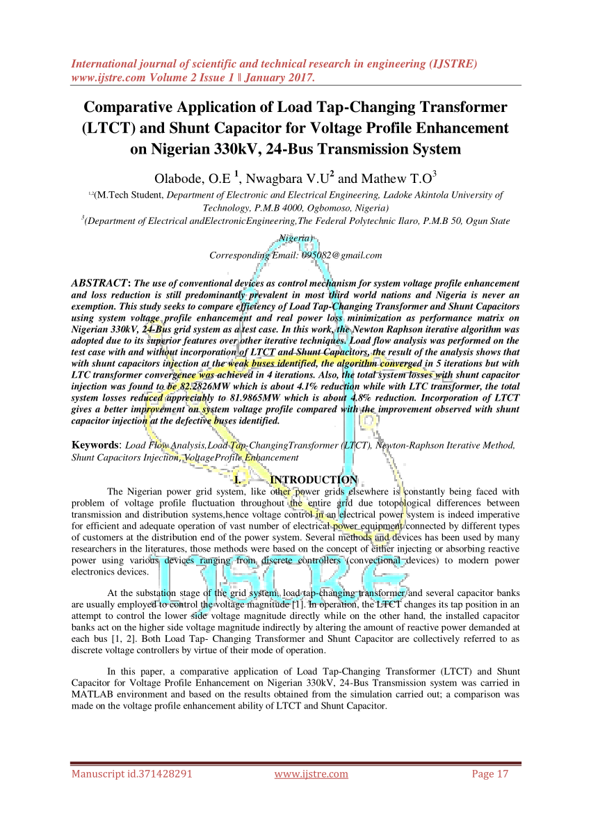 hight resolution of  pdf application of load tap changing transformer ltct to the optimal economic dispatch of generation of the nigerian 330kv grid system