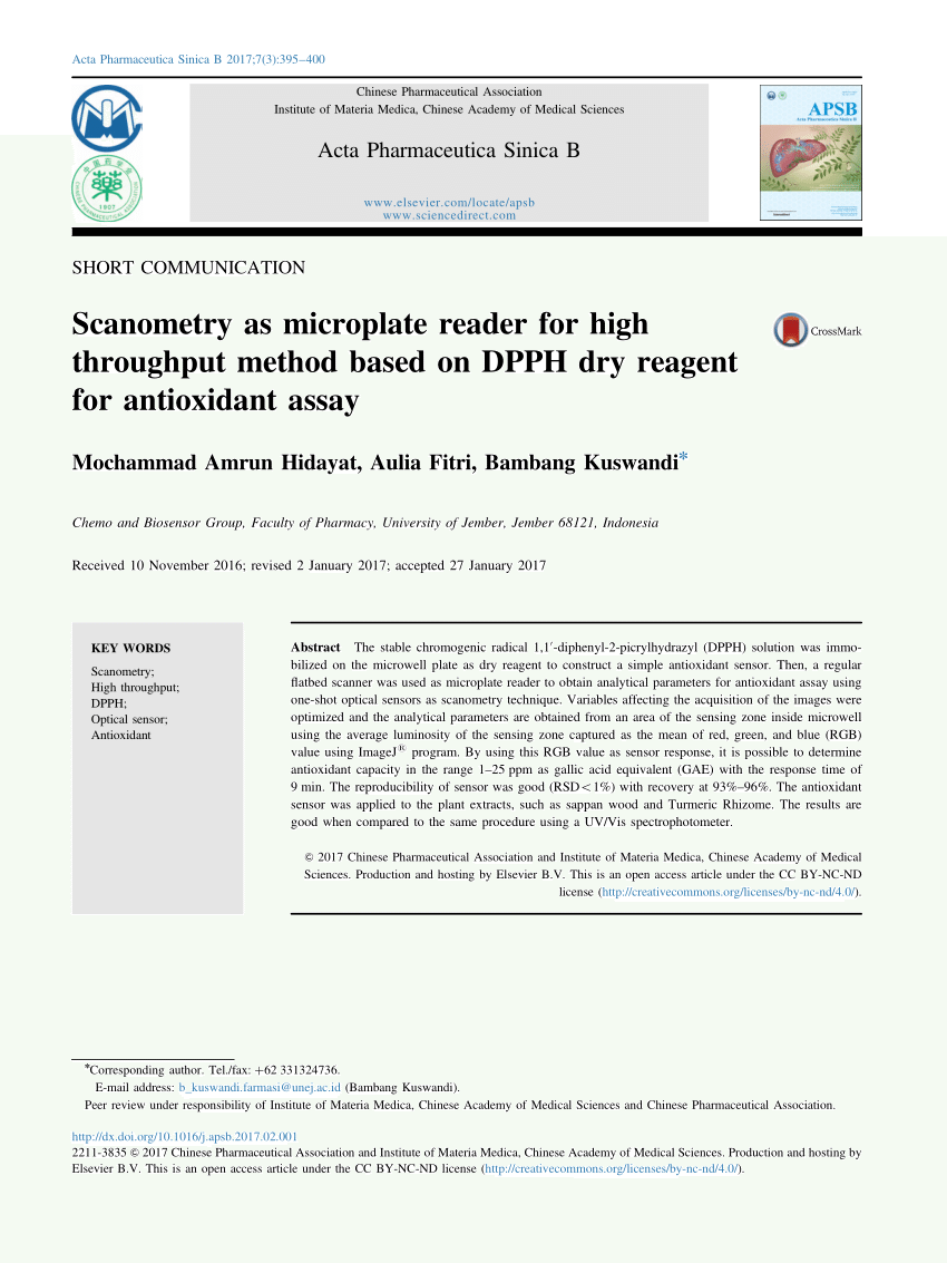 (PDF) Scanometry as microplate reader for high throughput method based on DPPH dry reagent for antioxidant assay