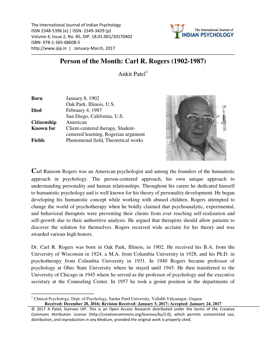 An Analysis Of The Personal Centered Theory Of Carl Rogers Term