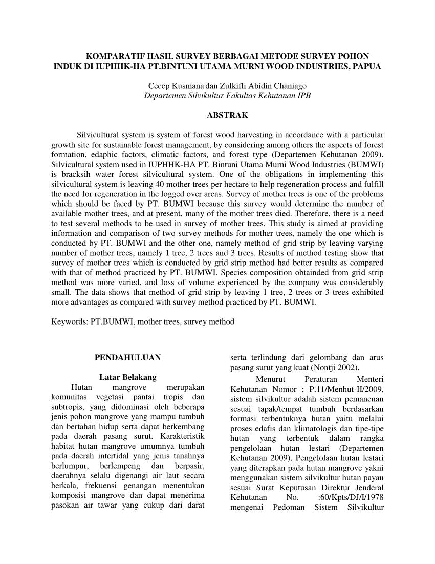 medium resolution of  pdf komparatif hasil survey berbagai metode survey pohon induk di iuphhk ha pt bintuni utama murni wood industries papua