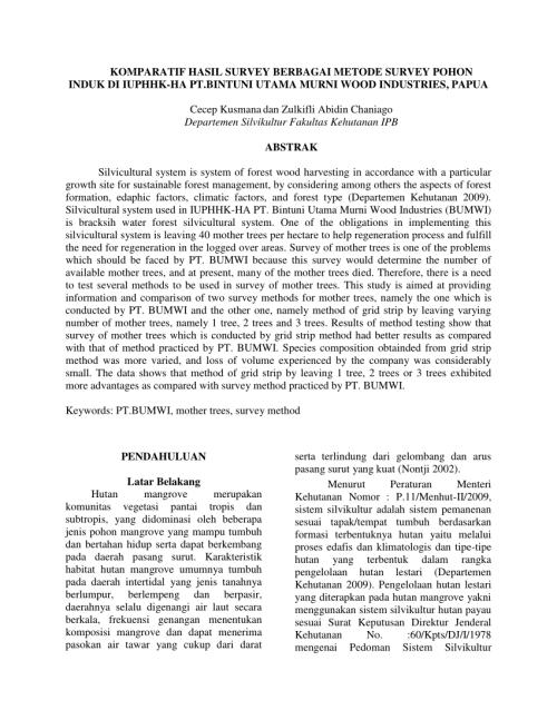 small resolution of  pdf komparatif hasil survey berbagai metode survey pohon induk di iuphhk ha pt bintuni utama murni wood industries papua