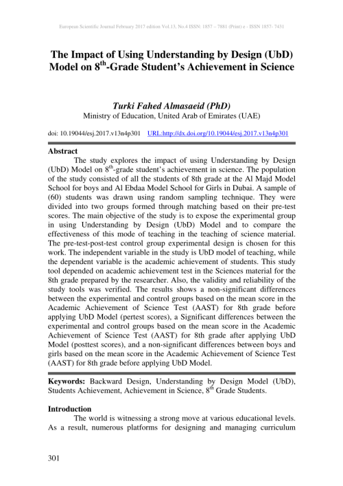 small resolution of PDF) The Impact of Using Understanding by Design (UbD) Model on 8th-Grade  Student's Achievement in Science