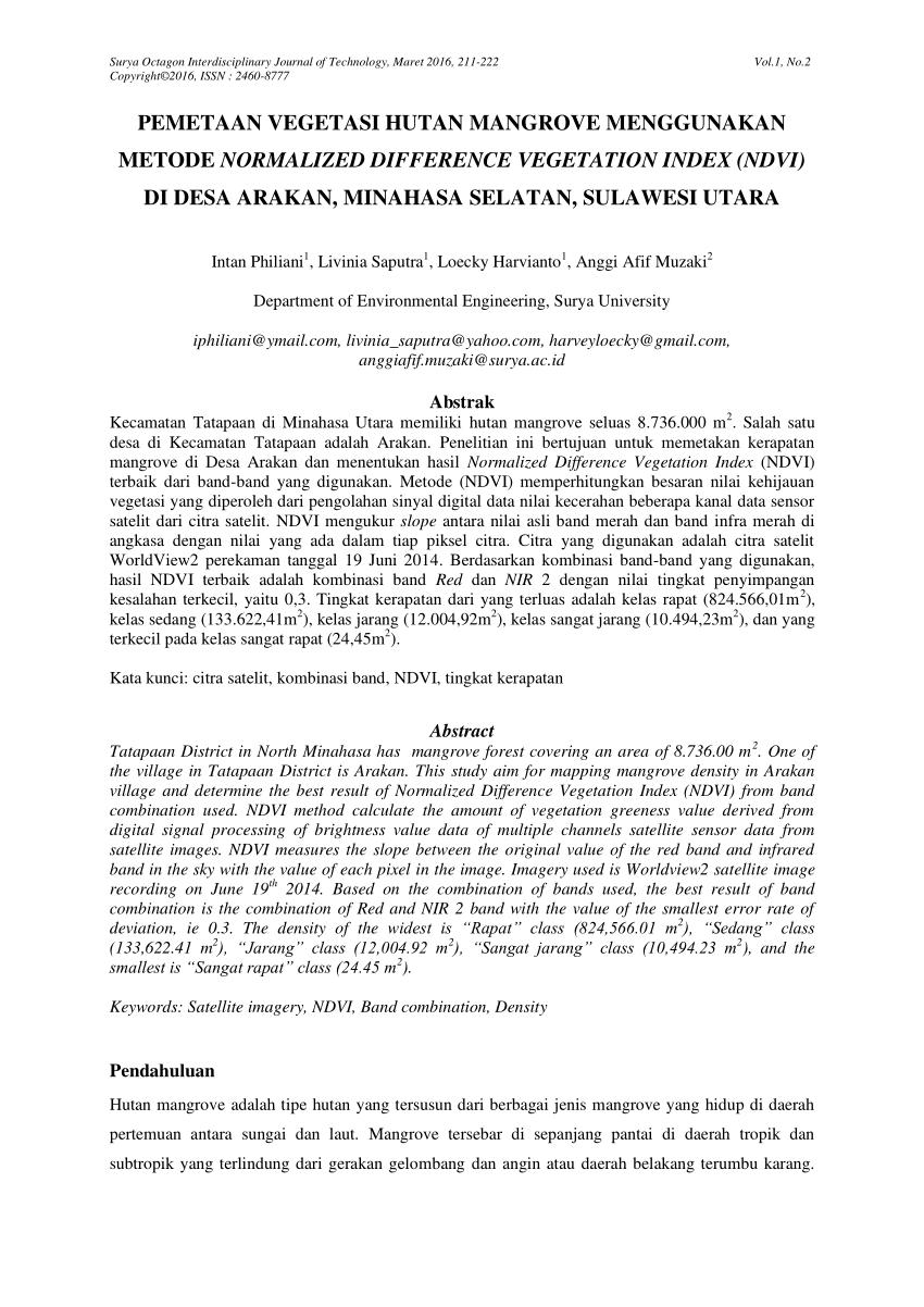 medium resolution of  pdf pemetaan vegetasi hutan mangrove menggunakan metode normalized difference vegetation index ndvi di desa arakan minahasa selatan sulawesi utara