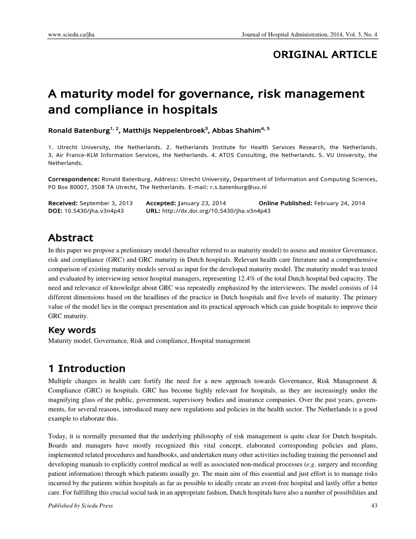 PDF A Maturity Model For Governance Risk Management And Compliance
