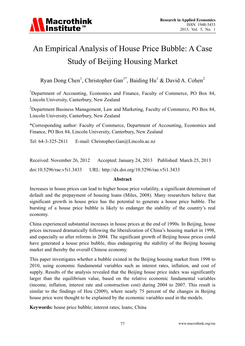 PDF An Empirical Analysis Of House Price Bubble A Case Study Of