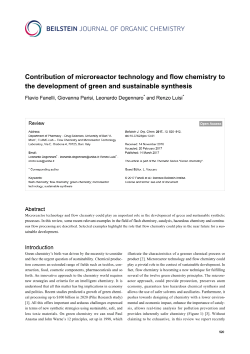 small resolution of  pdf contribution of microreactor technology and flow chemistry to the development of green and sustainable synthesis