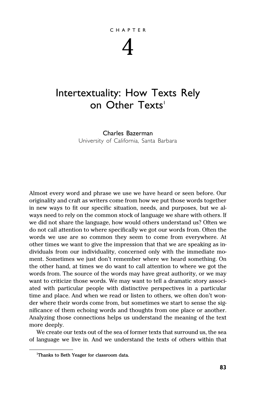 PDF Intertextuality How Texts Rely On Other Texts 1