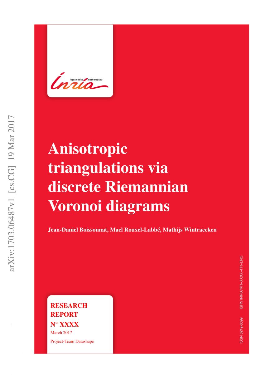medium resolution of  pdf anisotropic triangulations via discrete riemannian voronoi diagrams