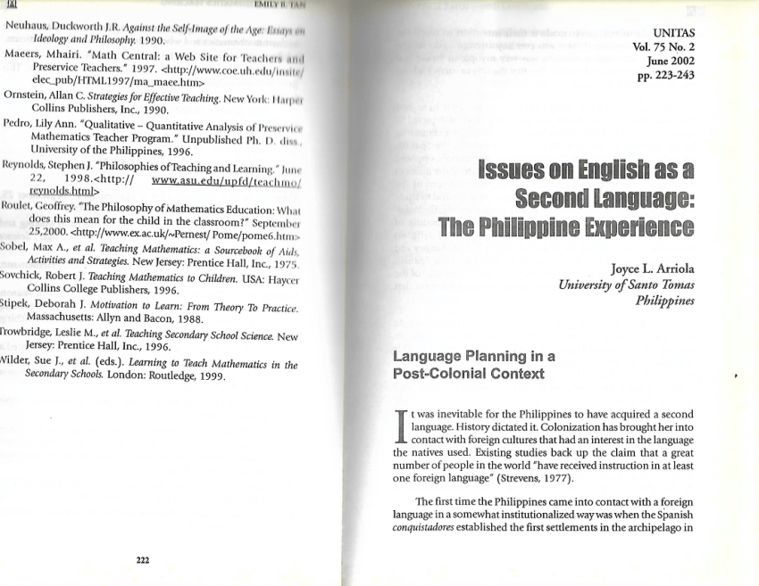 (PDF) Issues on English as a Second language: The