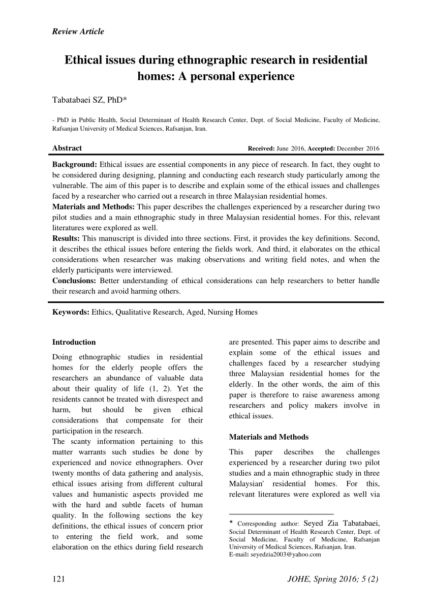 PDF Ethical Issues During Ethnographic Research In