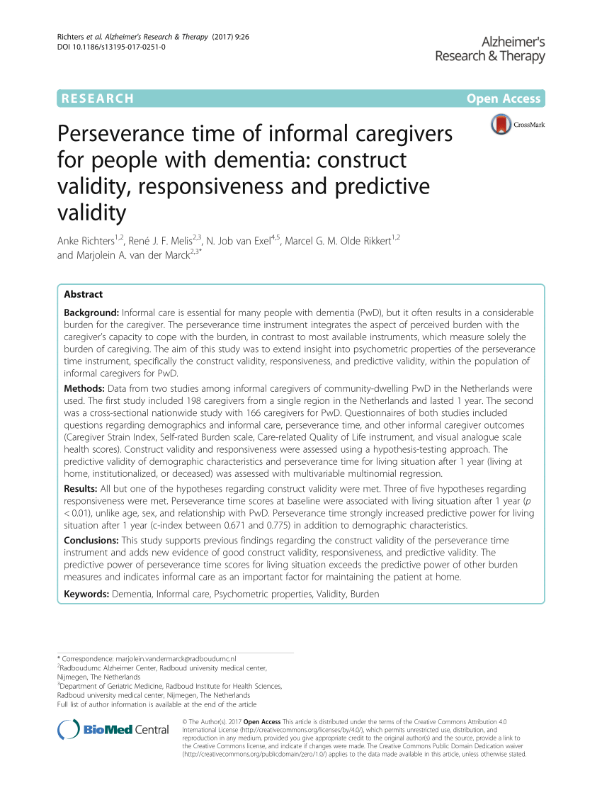 PDF Perseverance Time Of Informal Caregivers For People With