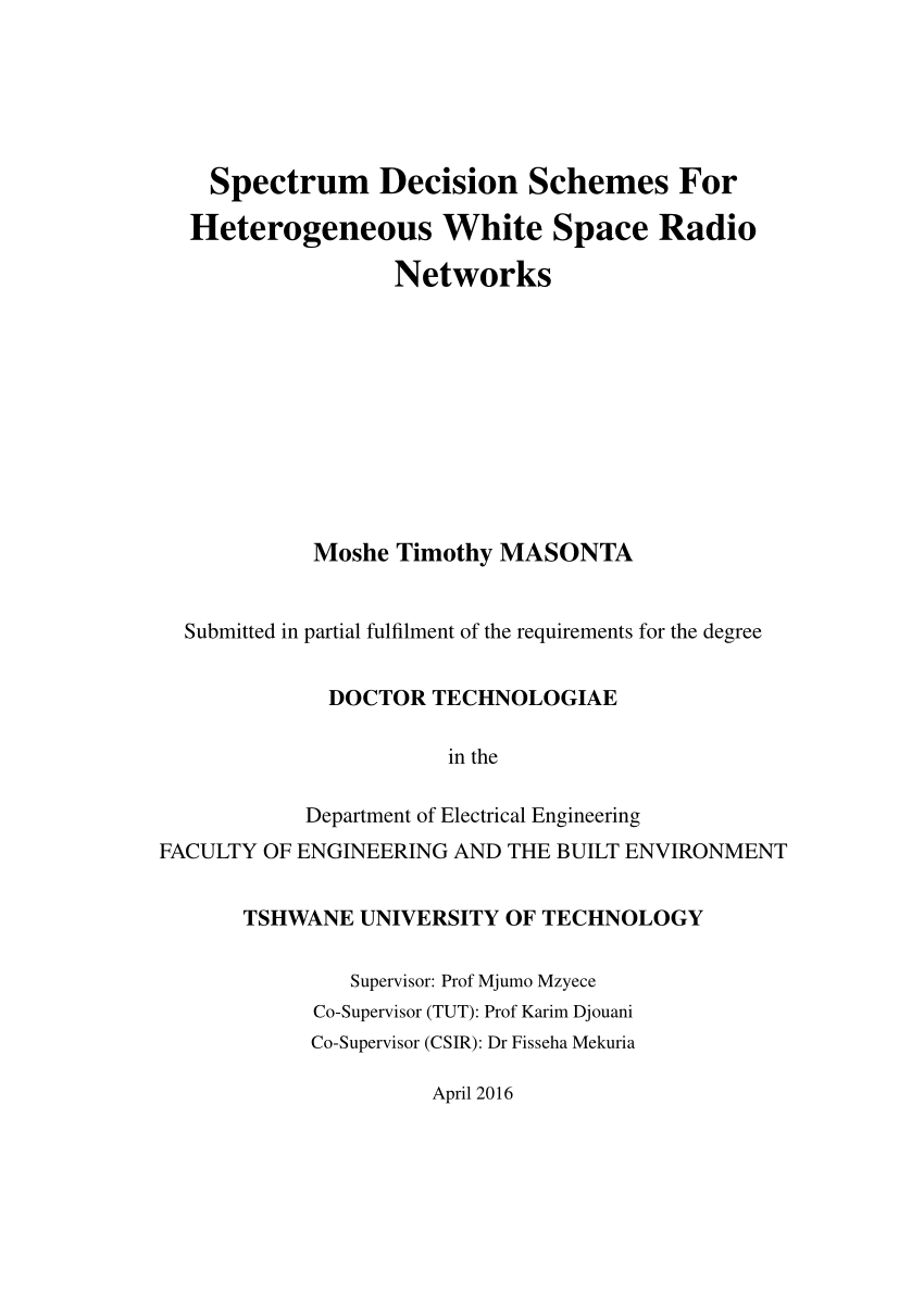 hight resolution of  pdf spectrum decision schemes for heterogeneous white space radio networks