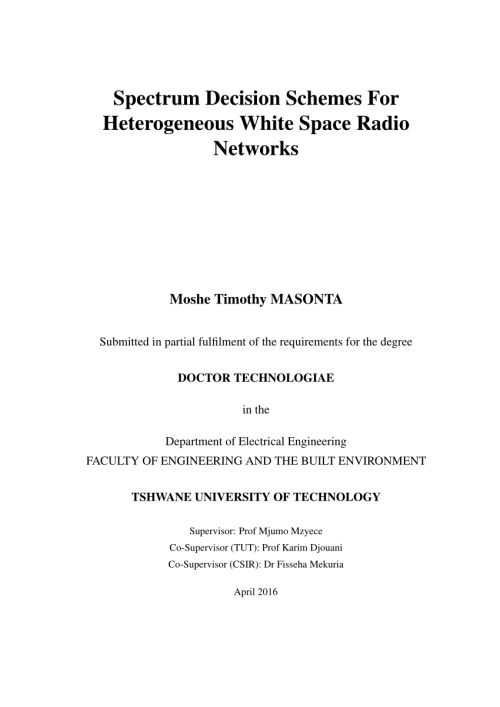 small resolution of  pdf spectrum decision schemes for heterogeneous white space radio networks