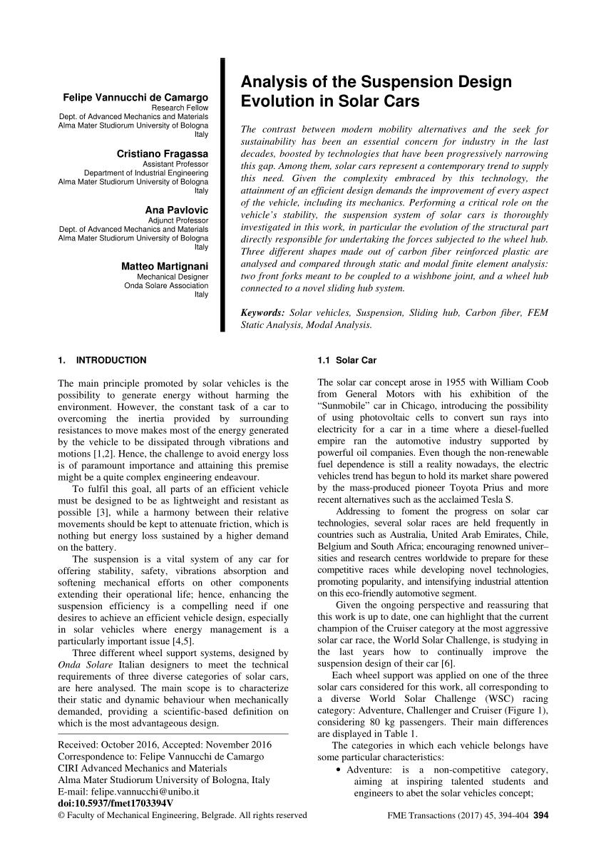 pdf analysis of the suspension design evolution in solar cars
