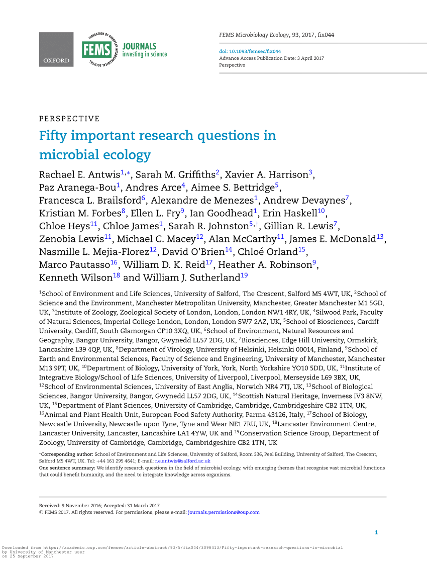 PDF 50 Important Research Questions In Microbial Ecology
