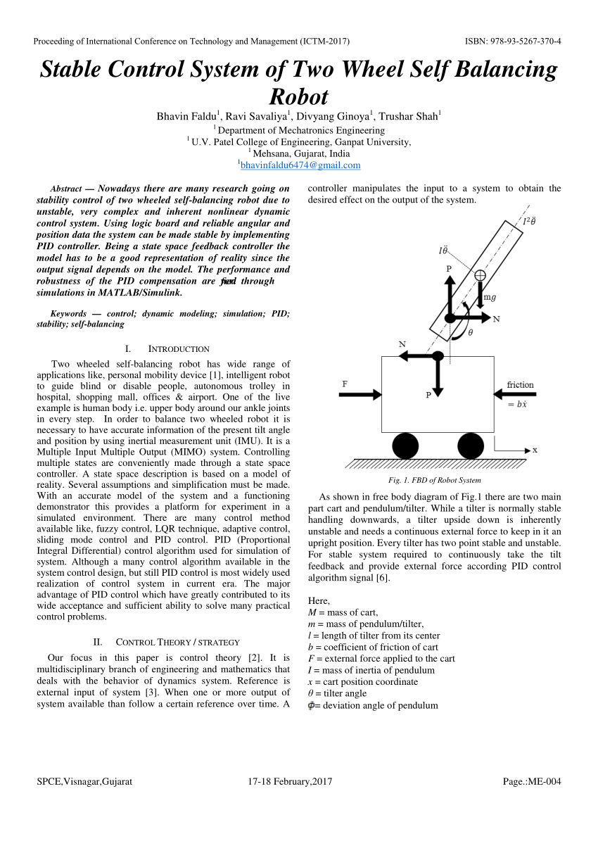 hight resolution of  pdf stable control system of two wheel self balancing robot