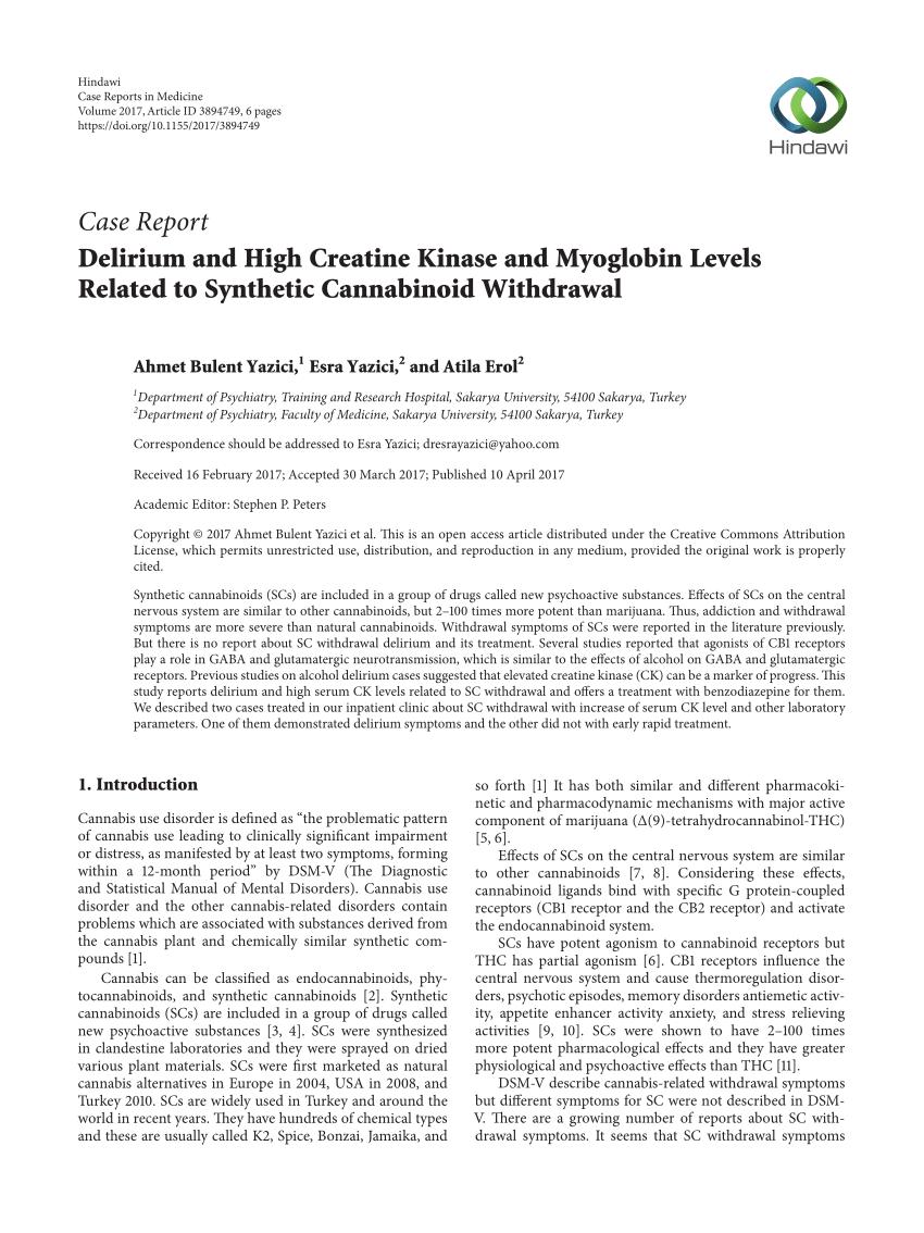 (PDF) Delirium and High Creatine Kinase and Myoglobin ...