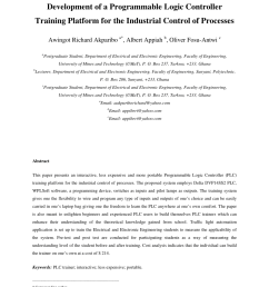 pdf development of a programmable logic controller training platform for the industrial control of processes [ 850 x 1202 Pixel ]