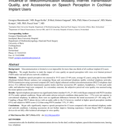 pdf influence of telecommunication modality internet transmission quality and accessories on speech perception in cochlear implant users [ 850 x 1202 Pixel ]