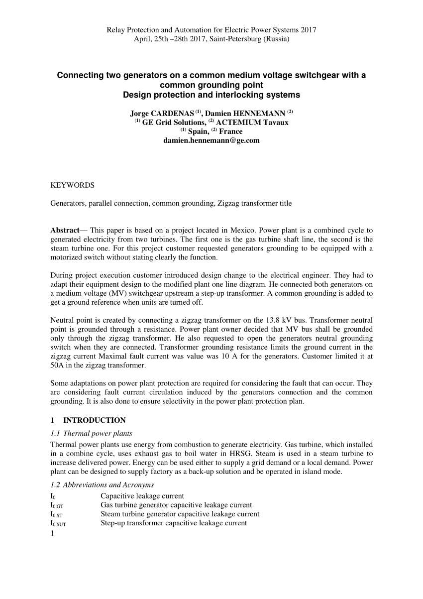 hight resolution of  pdf connecting two generators on a common medium voltage switchgear with a common grounding point design protection and interlocking systems