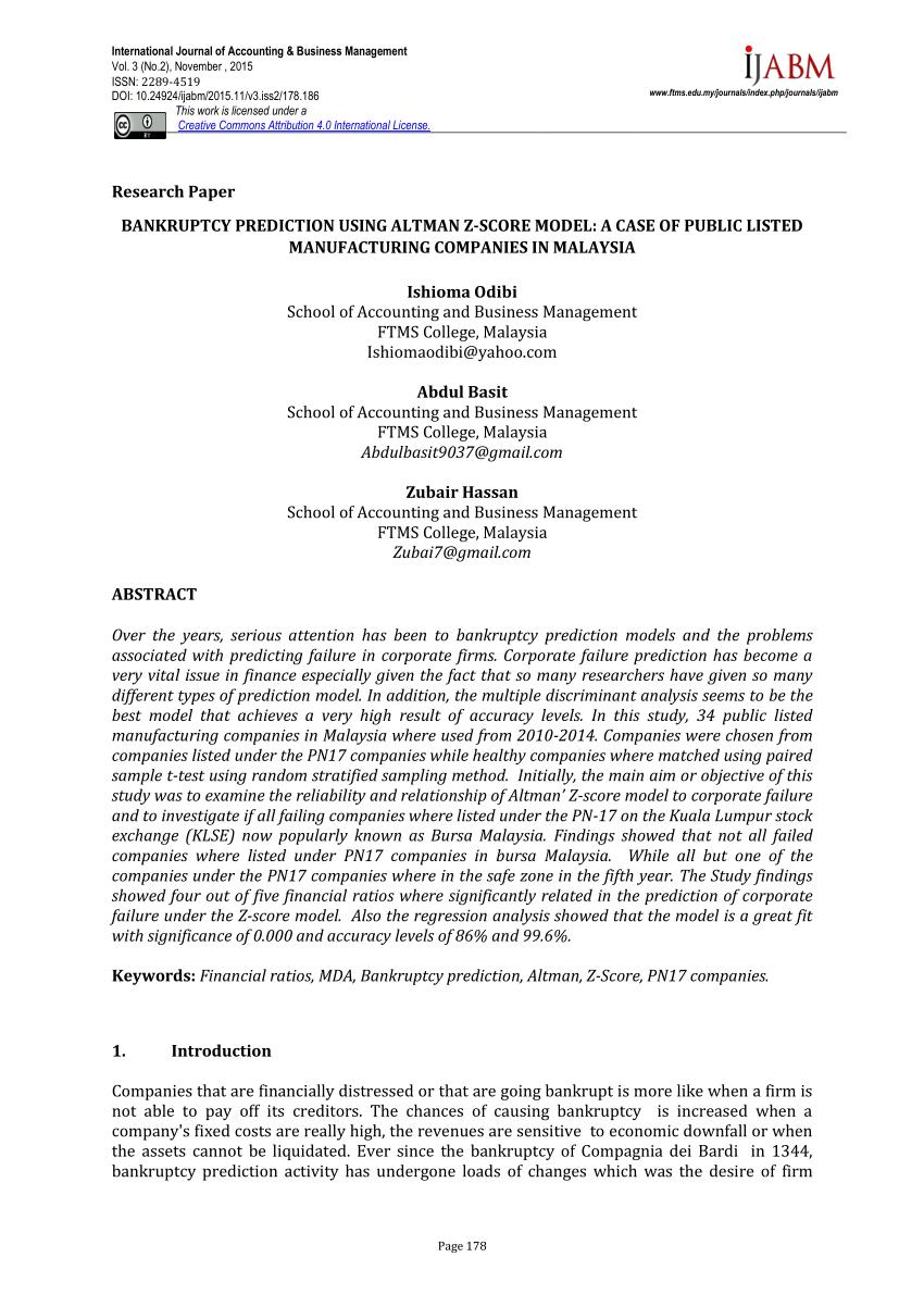 PDF BANKRUPTCY PREDICTION USING ALTMAN Z SCORE MODEL A CASE OF