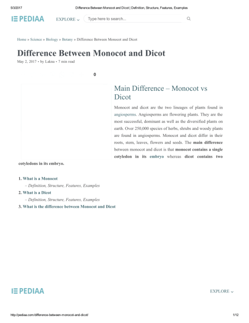 small resolution of  pdf home science biology botany difference between monocot and dicot difference between monocot and dicot