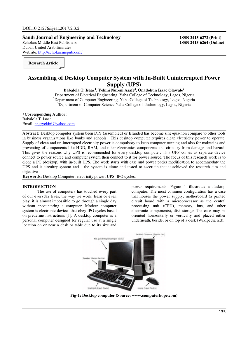 hight resolution of  pdf assembling of desktop computer system with in built uninterrupted power supply ups