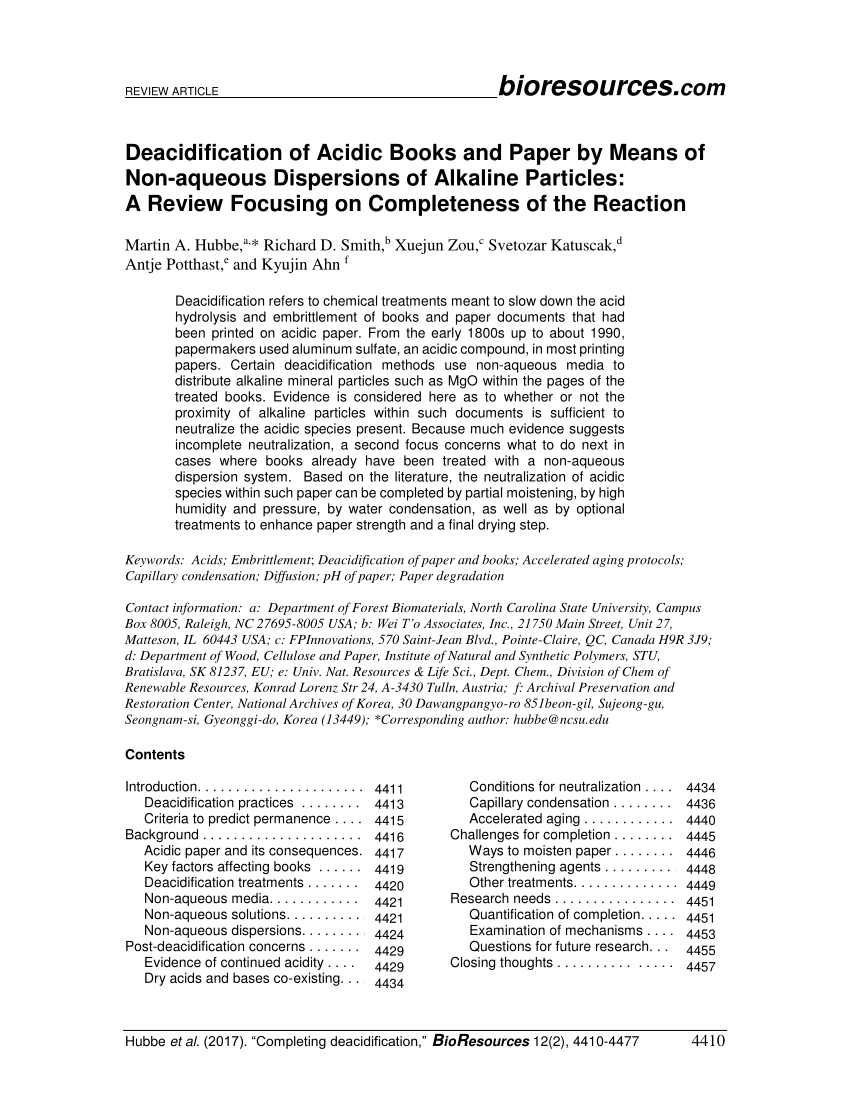 PDF Deacidification Of Acidic Books And Paper By Means Of Non