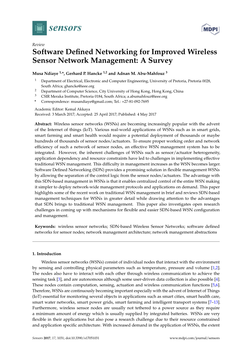 hight resolution of  pdf software defined networking for improved wireless sensor network management a survey