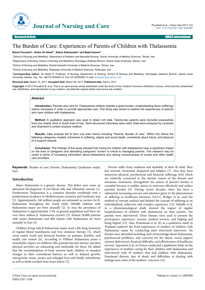 PDF The Burden Of Care Experiences Of Parents Of Children With
