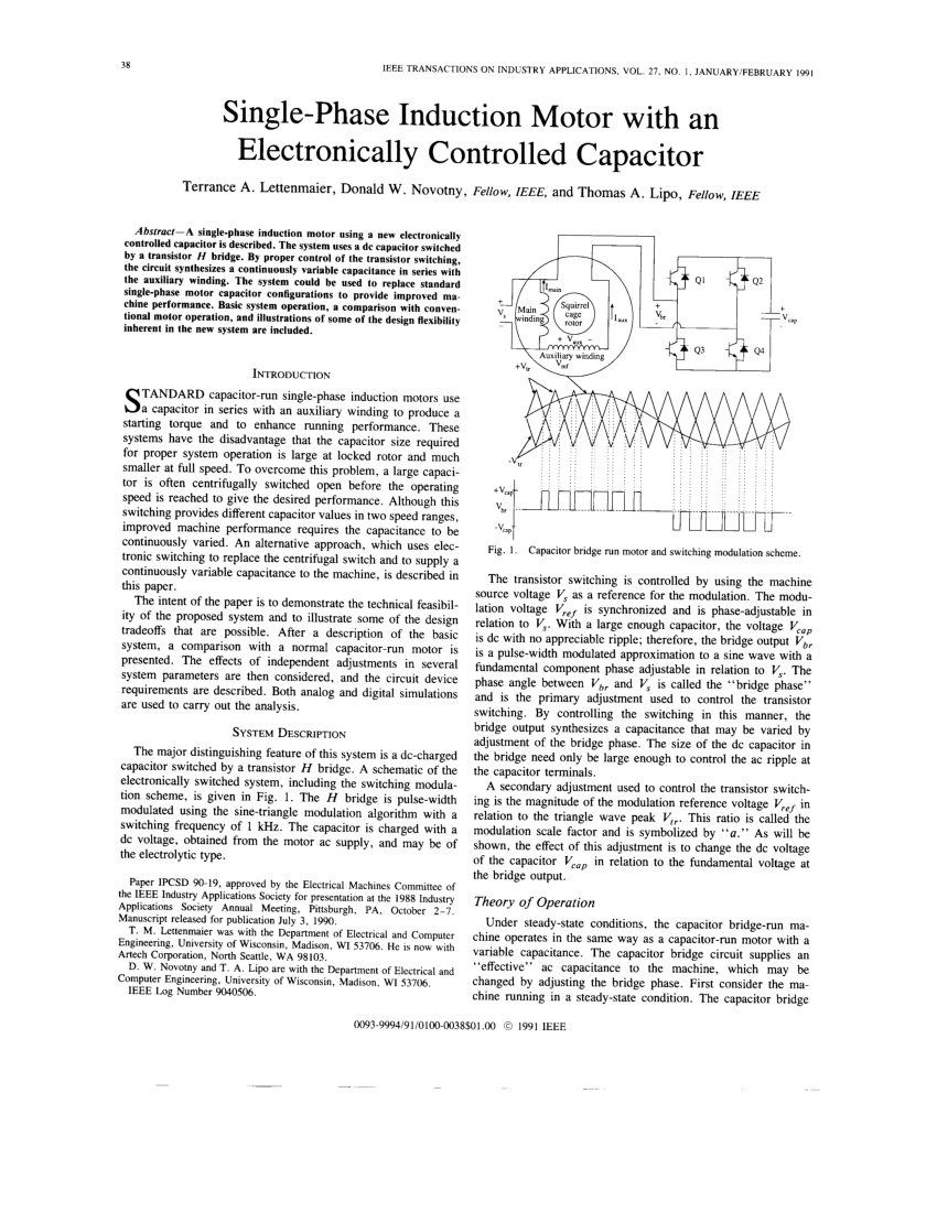 medium resolution of three phase induction motor operating from single phase supply with an electronically controlled capacitor nabil a ahmed request pdf