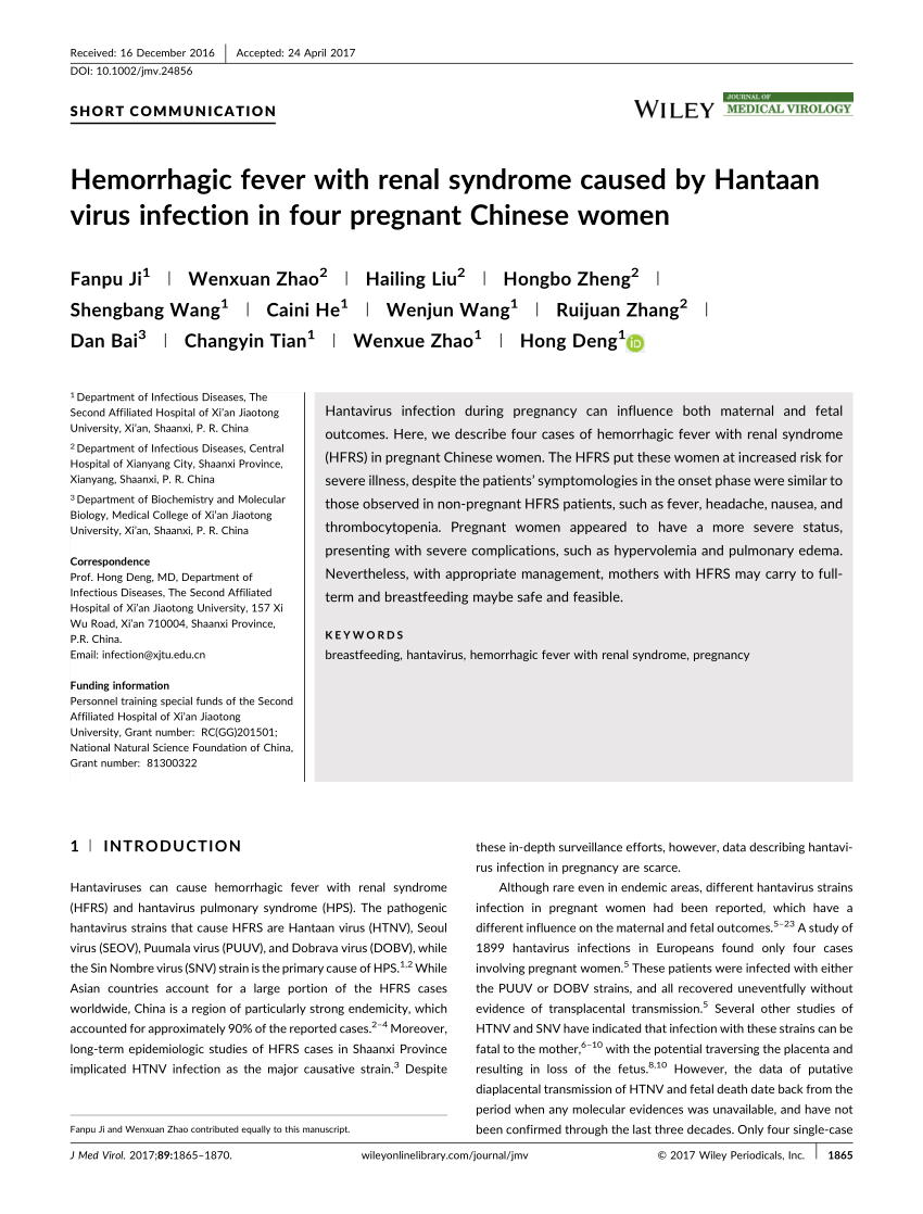 PDF) Hemorrhagic fever with renal syndrome caused by Hantaan virus ...