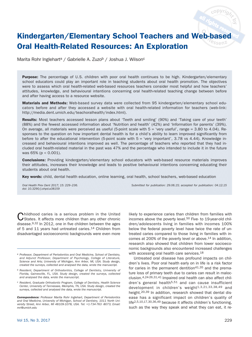 hight resolution of PDF) Kindergarten/Elementary School Teachers and Web-based Oral Health-Related  Resources: An Exploration