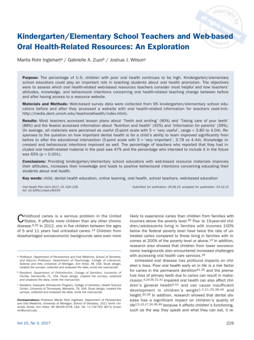 small resolution of PDF) Kindergarten/Elementary School Teachers and Web-based Oral Health-Related  Resources: An Exploration